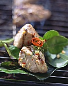 Grilled pork fillet with coconut milk and chili marinade