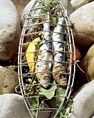 Sarde alla griglia (Sardines barbecued in grill basket)