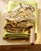 Grilled focaccia bread with soft cheese filling