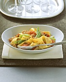 Ribbon pasta with tuna and vegetable ragout