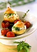 Savoury cream puff with cheese filling & marinated tomatoes