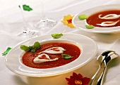 Tomato soup with crème fraiche and basil for lovers