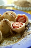 Quark dumplings with strawberry filling