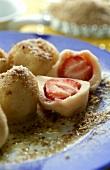 Quark dumplings with strawberry filling
