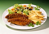 Poularde wings with chips and salad
