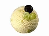 A scoop of grape and vanilla ice cream