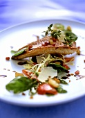 Fried red mullet fillet on salad leaves with croutons
