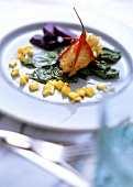 Crispy sole croquette with saffron, spinach, mango chutney