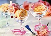 Rose butter in dessert bowls