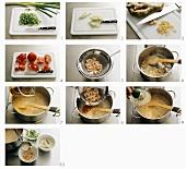 Making coconut milk soup with shrimps