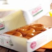 Doughnuts in a cardboard box