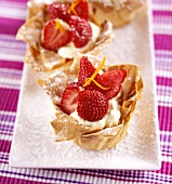 Filo pastry tart with vanilla mascarpone cream & strawberries