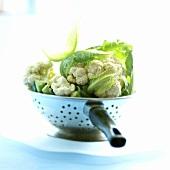 Fresh cauliflower in a kitchen strainer
