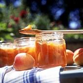 Apricot jam in preserving jars