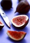 Fresh figs, one cut open