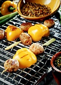 Barbecued mince and pepper kebabs