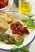 Bottled courgettes and dried tomatoes with white bread