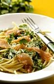 Spaghetti with smoked salmon and watercress