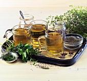Various medicinal teas on tray