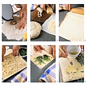 Making focaccia with cheese and herb filling