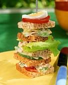 Towering club sandwich