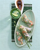 Asian rice paper rolls with shrimps