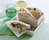 Herb mousse and radish sandwiches