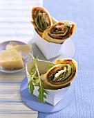 Salami and rocket wraps