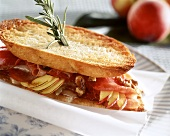 Toasted ham, nectarine and cheese sandwich