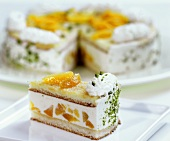 Piece of Wachau apricot gateau in front of cake with piece cut