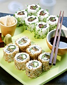 Ura Maki with chopped tuna and with salmon and leek