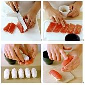 Preparing Nigiri sushi with tuna