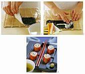 Making ura-maki-sushi
