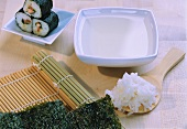 Ingredients for sushi: sticky rice, nori sheets & vinegar water