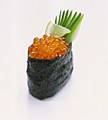 Gunkan-maki-sushi (rolled nori sheet with soft filling)