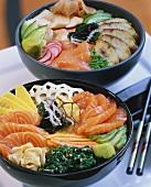 Chirashi-sushi with salmon and with smoked fish