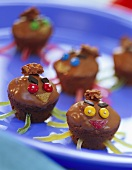Chocolate crispy muffins with amusing decoration