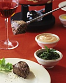 Classic Fondue Bourguignonne with beef fillet