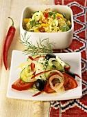 Shepherds' salad and bulgur salad