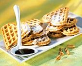 Honey waffles with chocolate sauce