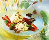 Vanilla ice cream with strawberry sauce, Cocopops & mint