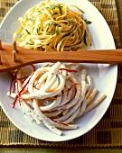 Tagliolini with lemon sauce and macaroni with mascarpone