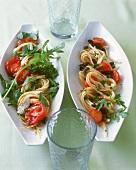 Spaghetti with tomatoes & rocket, Bavette alla donna di strada