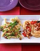 Fusilli trifolati; spaghetti with tuna, mushrooms, tomatoes