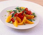 Fruity tomato salad with orange segments