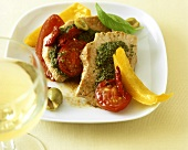 Pepper escalope with pesto and tomatoes