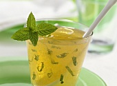 Minted apple jelly with white wine in jar