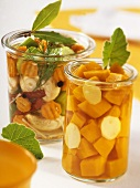Bottled pumpkin with ginger; pickled mixed vegetables
