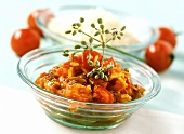 Tomato chutney in a glass bowl
