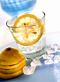 Gin and tonic with ice cubes and slice of lemon in glass